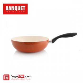 Wok Pan With Ceramic Non - Stick Surface (28cm) Orange